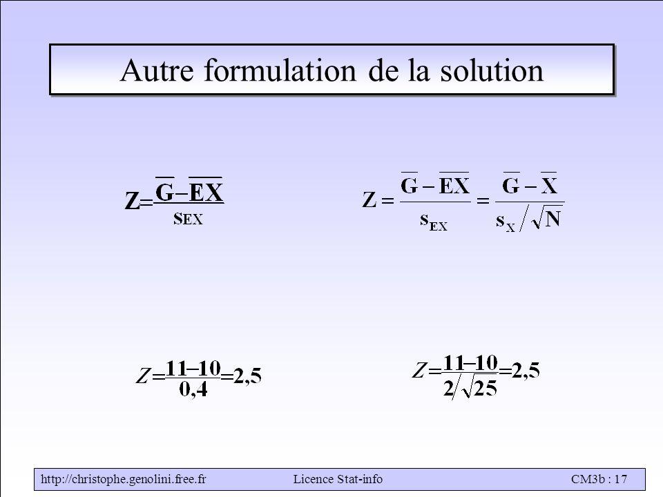 Autre formulation de la solution