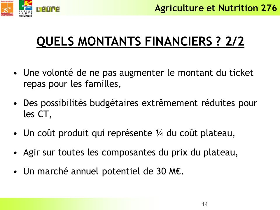 QUELS MONTANTS FINANCIERS 2/2