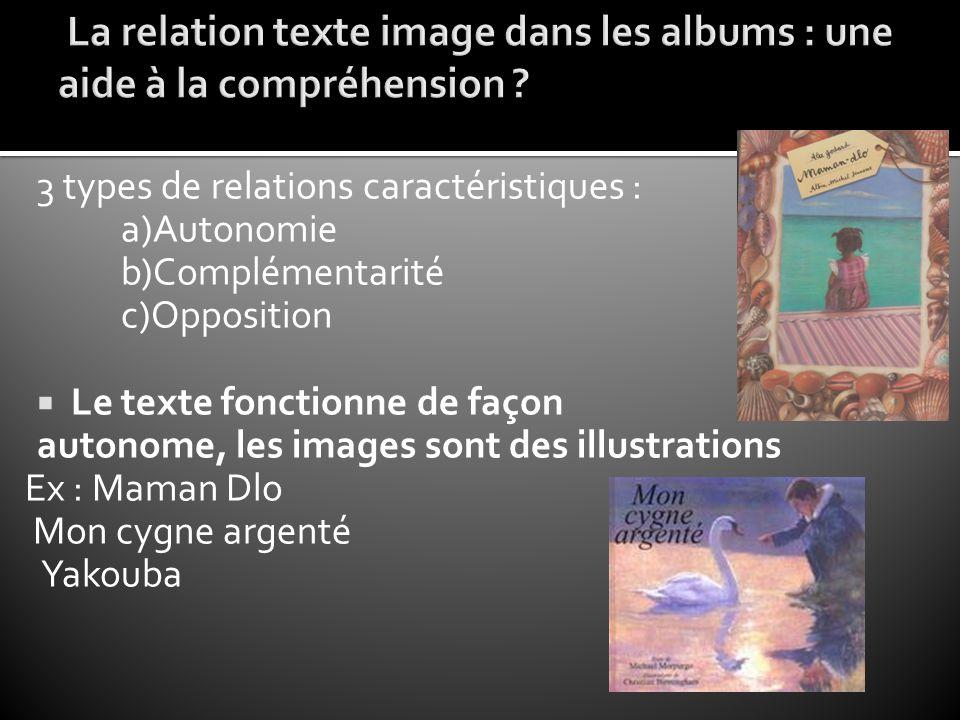 La relation texte image dans les albums : une aide à la compréhension