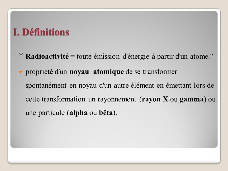 I. Définitions * Radioactivité = toute émission d énergie à partir d un atome.