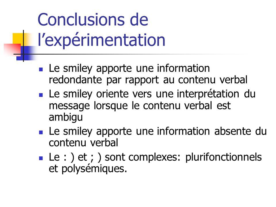 Conclusions de l'expérimentation