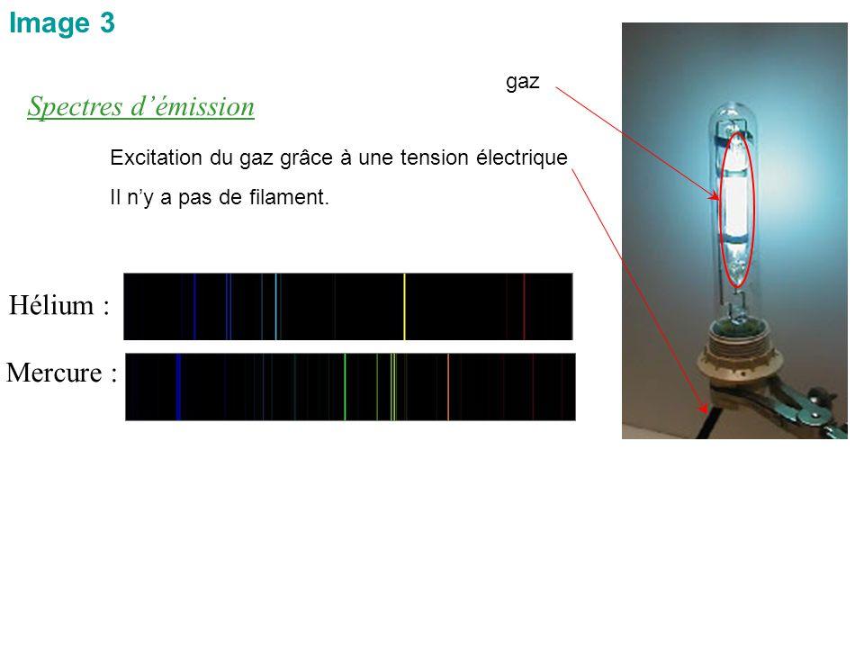 Image 3 Spectres d'émission Hélium : Mercure : gaz