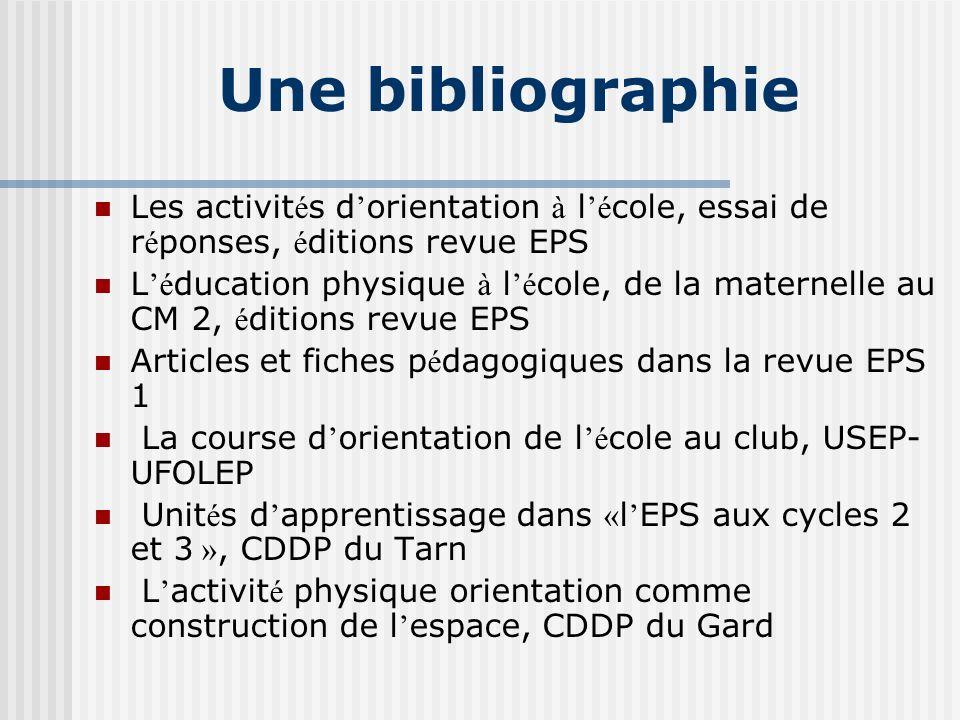 Une bibliographie Les activités d'orientation à l'école, essai de réponses, éditions revue EPS.