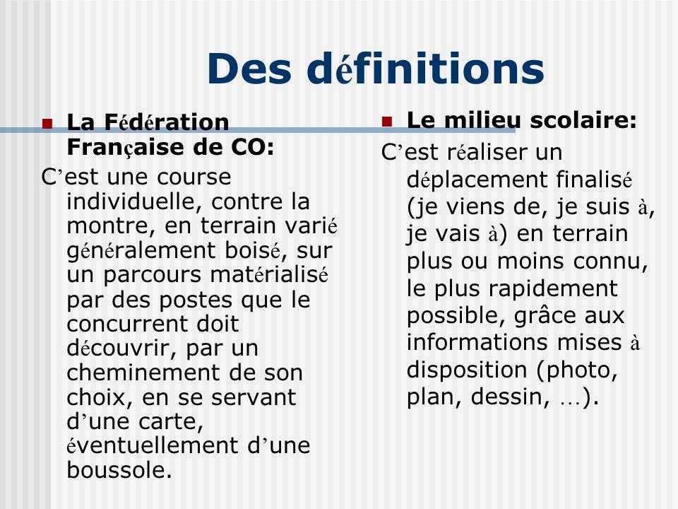 Des définitions Le milieu scolaire: La Fédération Française de CO: