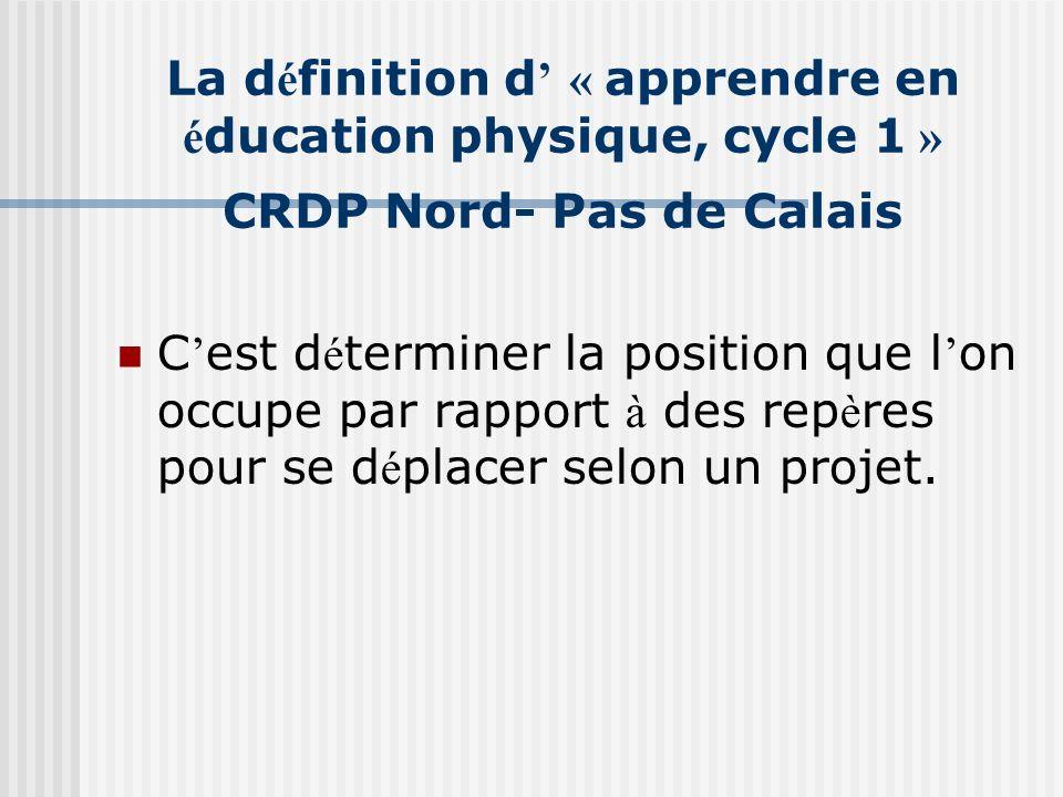 La définition d' « apprendre en éducation physique, cycle 1 » CRDP Nord- Pas de Calais