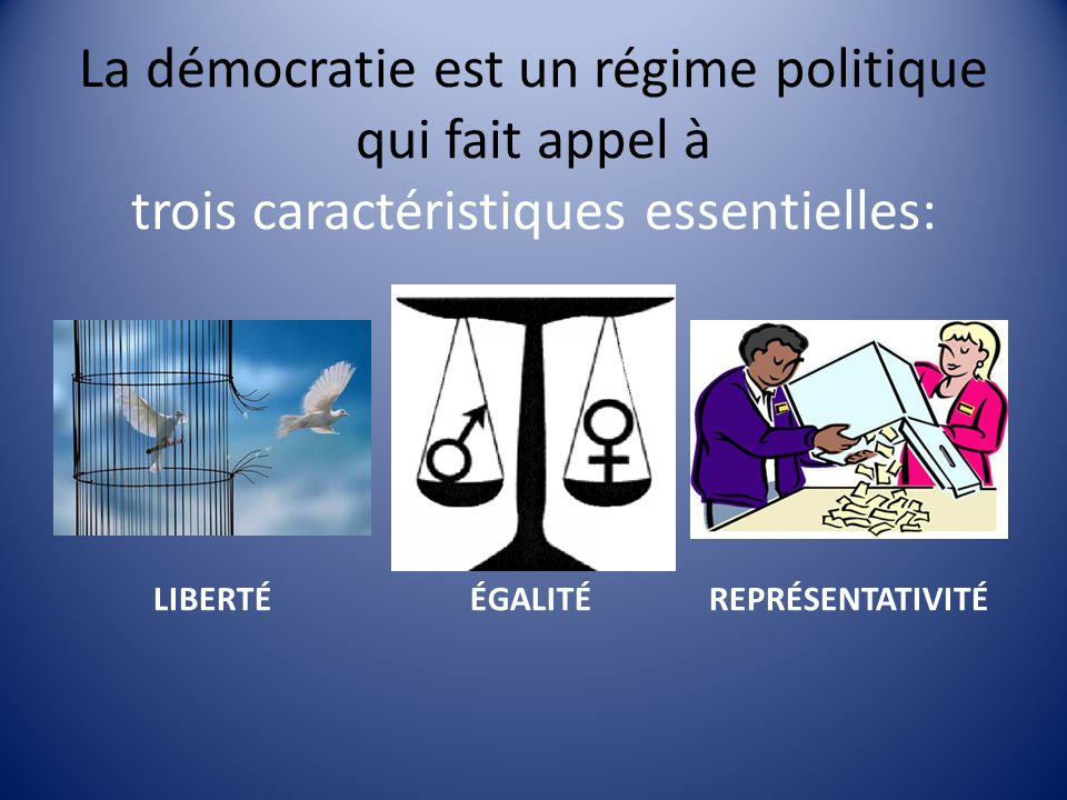 La démocratie est un régime politique qui fait appel à trois caractéristiques essentielles: