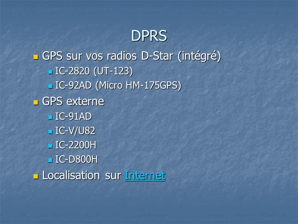 DPRS GPS sur vos radios D-Star (intégré) GPS externe