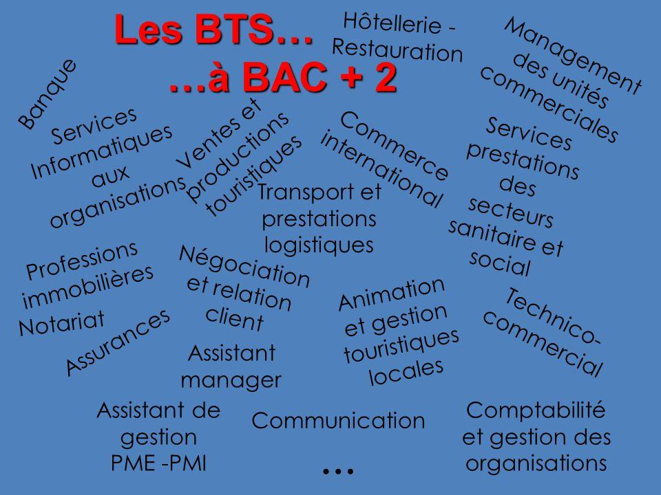 Les BTS… …à BAC + 2 … Hôtellerie - Restauration