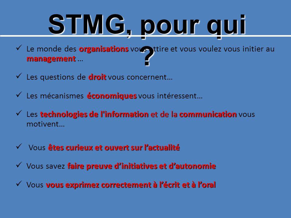 STMG, pour qui Le monde des organisations vous attire et vous voulez vous initier au management …