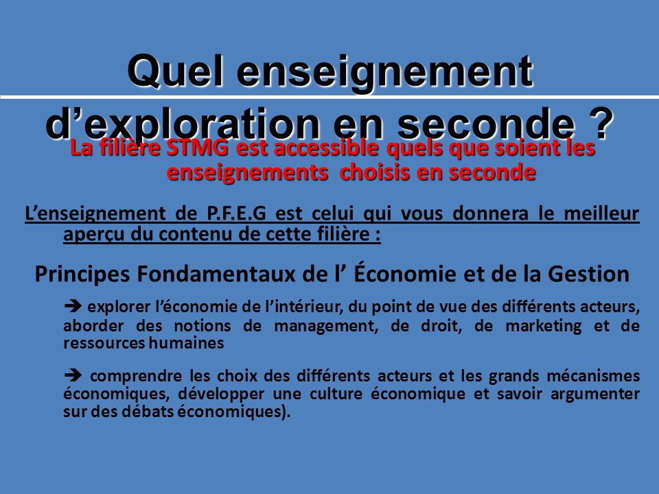 Quel enseignement d'exploration en seconde