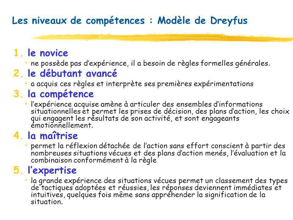 Les niveaux de compétences : Modèle de Dreyfus