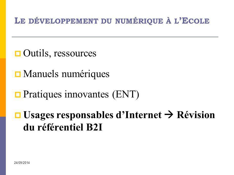 Le développement du numérique à l'Ecole