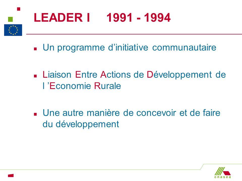 LEADER I 1991 - 1994 Un programme d'initiative communautaire