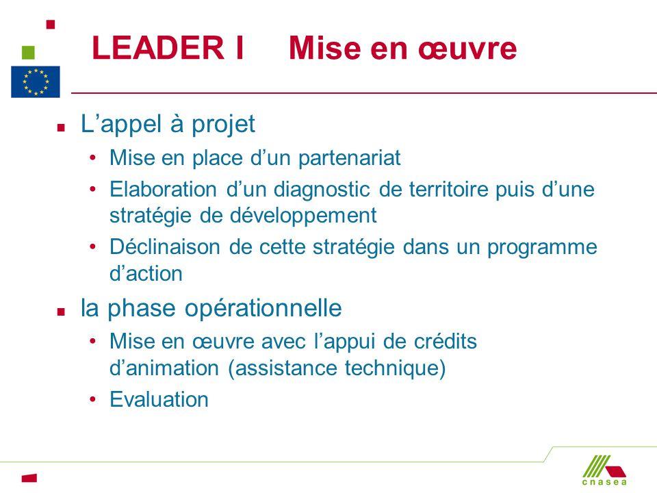 LEADER I Mise en œuvre L'appel à projet la phase opérationnelle