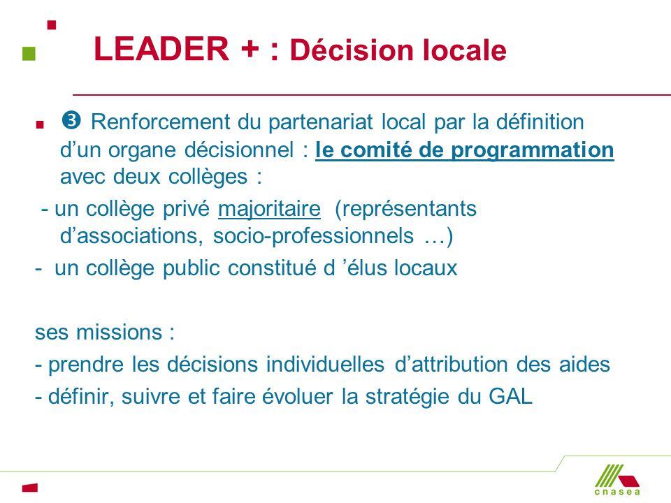 LEADER + : Décision locale