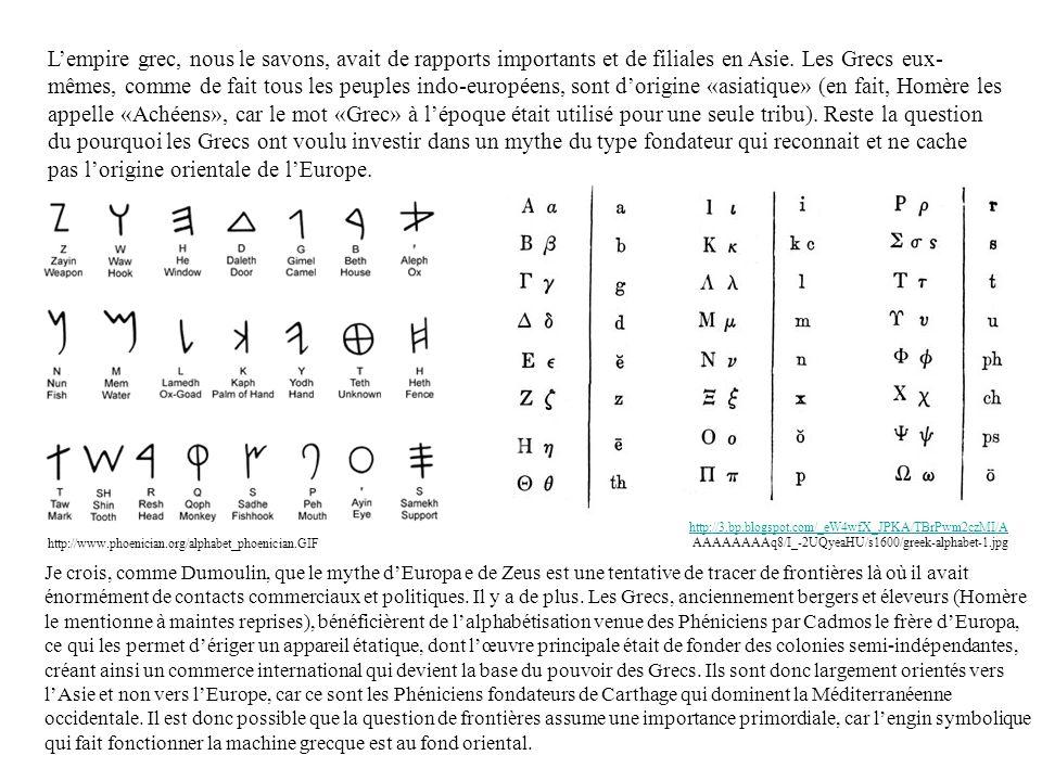 L'empire grec, nous le savons, avait de rapports importants et de filiales en Asie. Les Grecs eux-mêmes, comme de fait tous les peuples indo-européens, sont d'origine «asiatique» (en fait, Homère les appelle «Achéens», car le mot «Grec» à l'époque était utilisé pour une seule tribu). Reste la question du pourquoi les Grecs ont voulu investir dans un mythe du type fondateur qui reconnait et ne cache pas l'origine orientale de l'Europe.