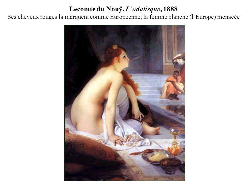Lecomte du Nouÿ, L'odalisque, 1888 Ses cheveux rouges la marquent comme Européenne; la femme blanche (l'Europe) menacée