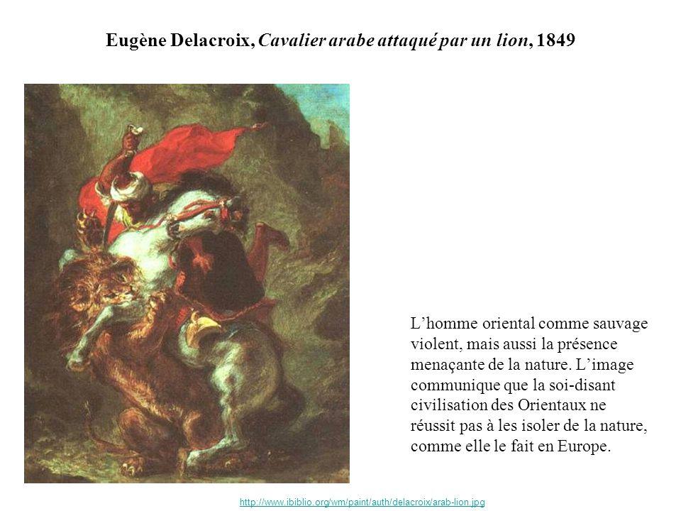 Eugène Delacroix, Cavalier arabe attaqué par un lion, 1849