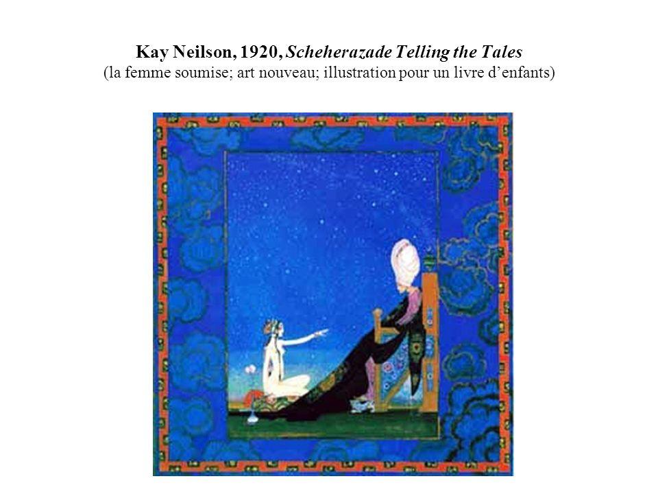 Kay Neilson, 1920, Scheherazade Telling the Tales (la femme soumise; art nouveau; illustration pour un livre d'enfants)