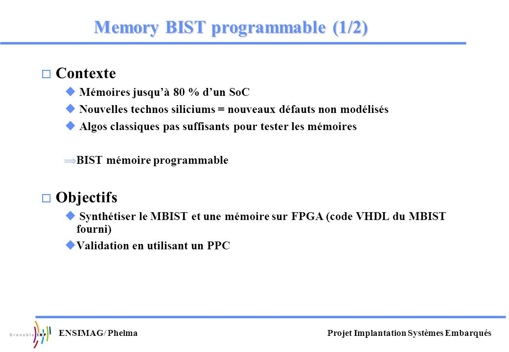 Memory BIST programmable (1/2)