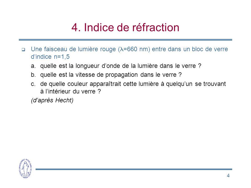 4. Indice de réfraction Une faisceau de lumière rouge (l=660 nm) entre dans un bloc de verre d'indice n=1,5.