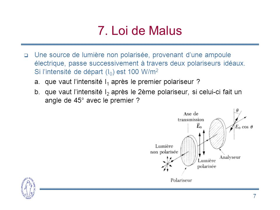 7. Loi de Malus