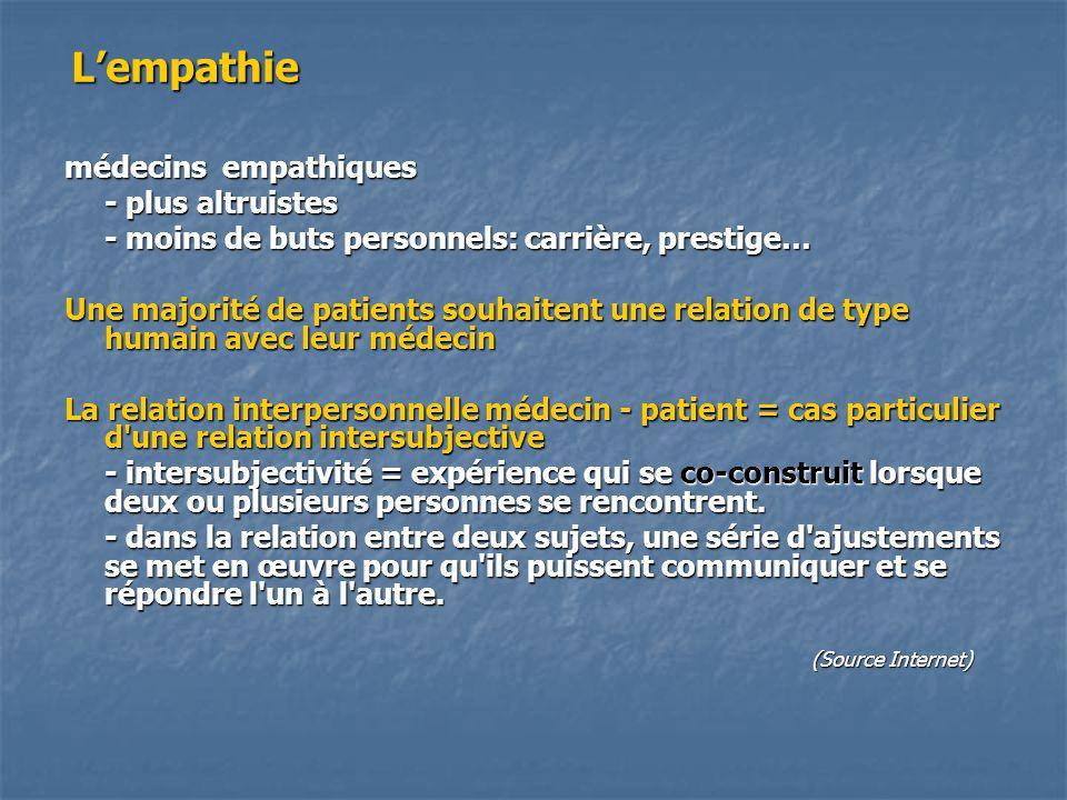 L'empathie médecins empathiques - plus altruistes