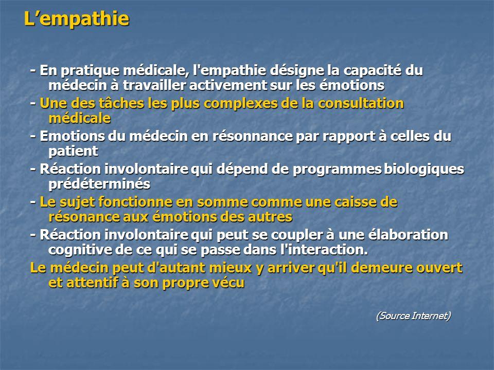 L'empathie - En pratique médicale, l empathie désigne la capacité du médecin à travailler activement sur les émotions.