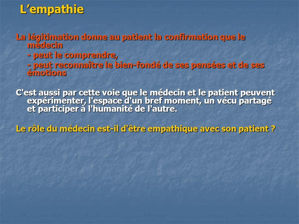 L'empathie La légitimation donne au patient la confirmation que le médecin. - peut le comprendre,