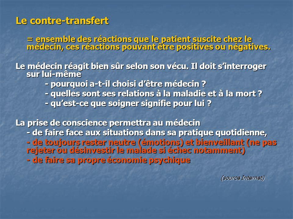Le contre-transfert = ensemble des réactions que le patient suscite chez le médecin, ces réactions pouvant être positives ou négatives.