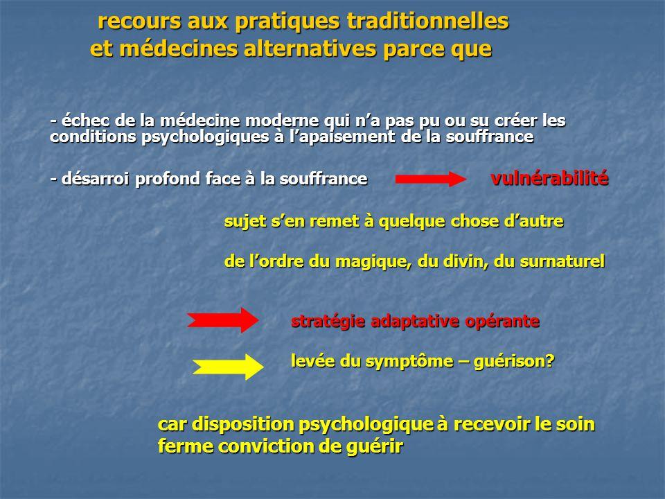 recours aux pratiques traditionnelles et médecines alternatives parce que