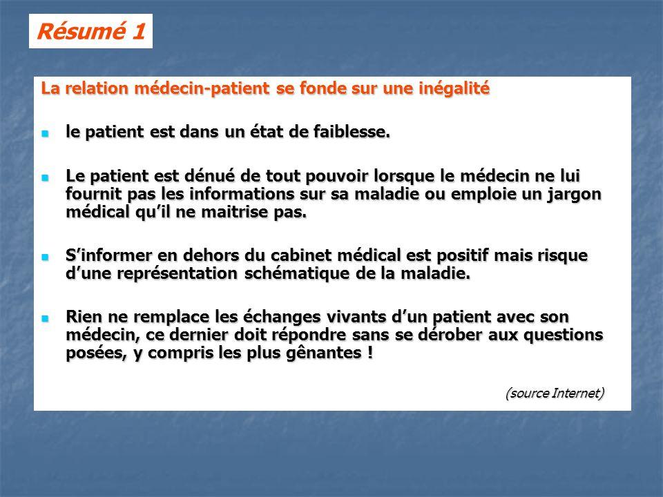 Résumé 1 La relation médecin-patient se fonde sur une inégalité