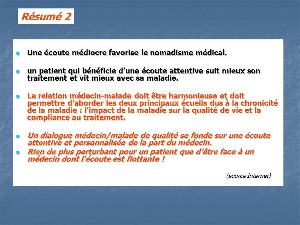 Résumé 2 Une écoute médiocre favorise le nomadisme médical.