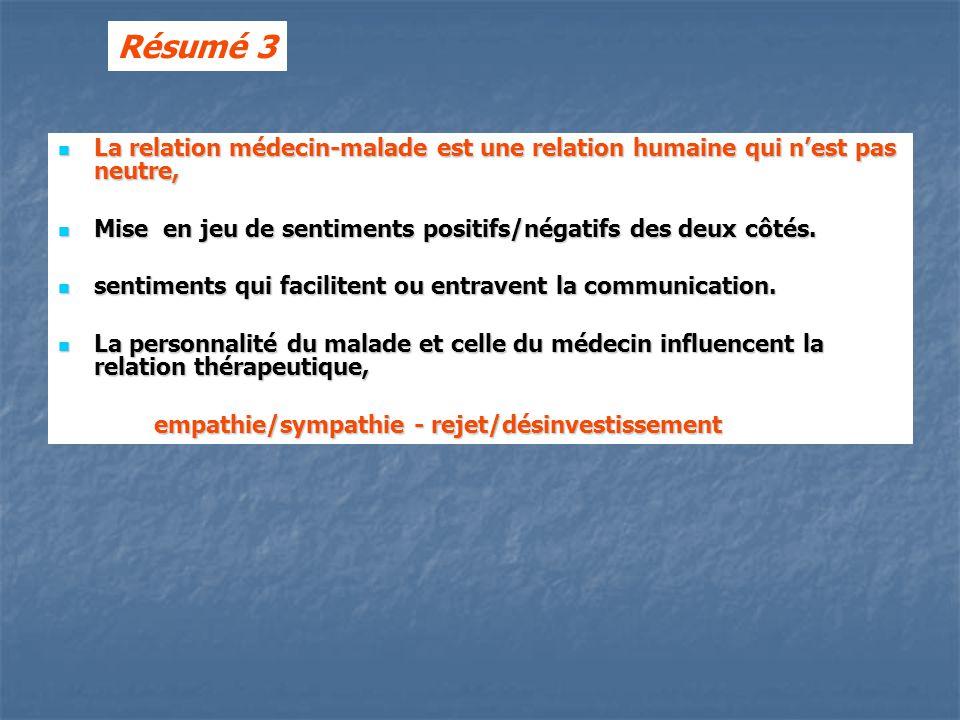 Résumé 3 La relation médecin-malade est une relation humaine qui n'est pas neutre, Mise en jeu de sentiments positifs/négatifs des deux côtés.