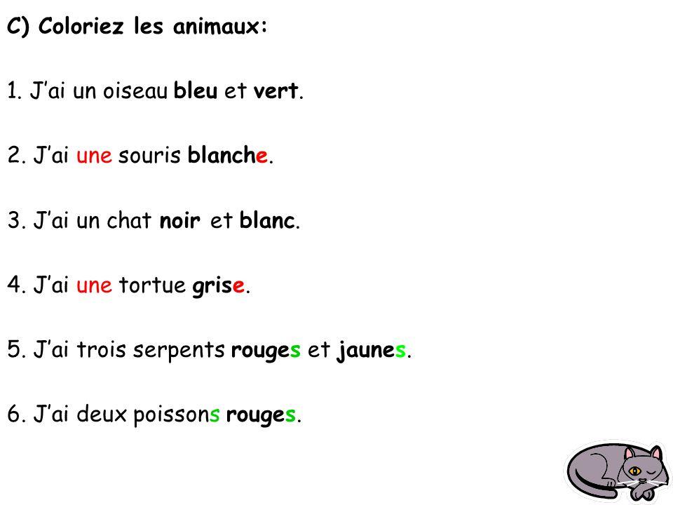 C) Coloriez les animaux: