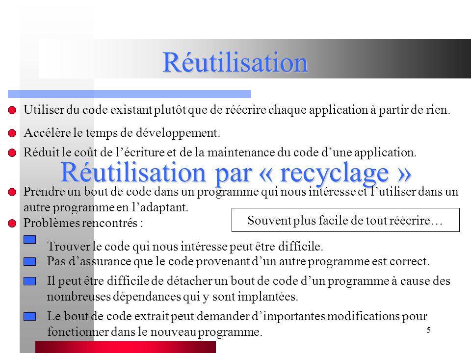 Réutilisation par « recyclage »
