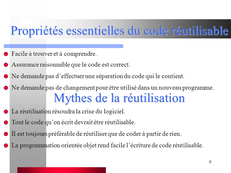 Propriétés essentielles du code réutilisable
