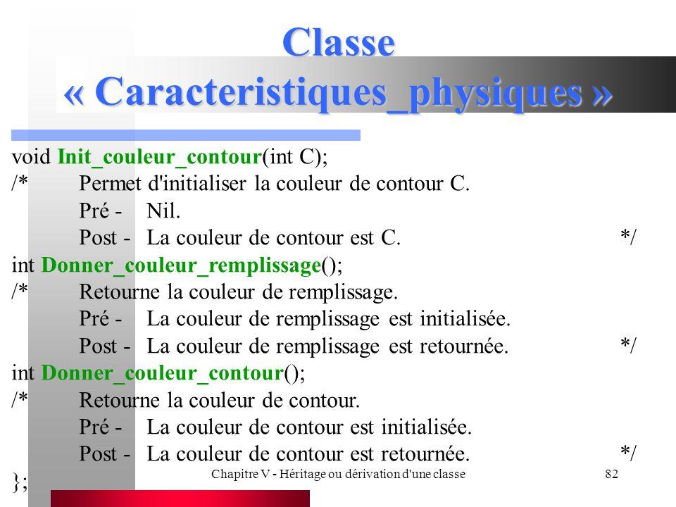 Classe « Caracteristiques_physiques »