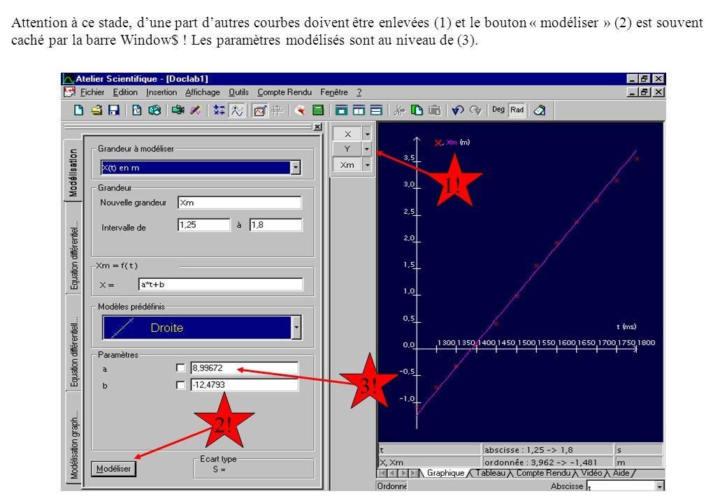 Attention à ce stade, d'une part d'autres courbes doivent être enlevées (1) et le bouton « modéliser » (2) est souvent caché par la barre Window$ ! Les paramètres modélisés sont au niveau de (3).