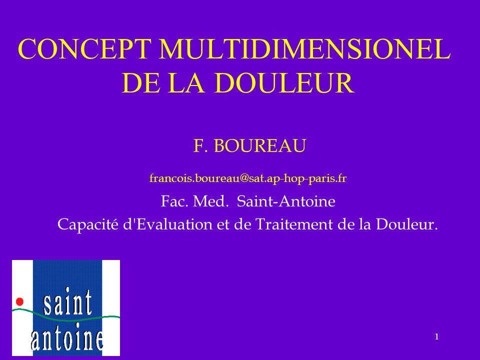 CONCEPT MULTIDIMENSIONEL DE LA DOULEUR