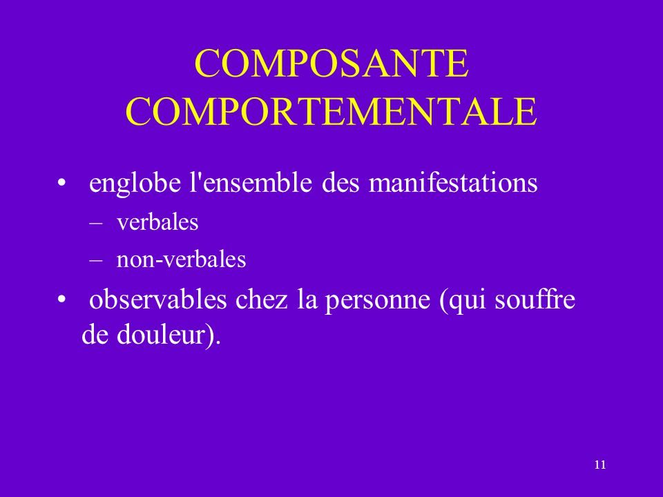 COMPOSANTE COMPORTEMENTALE