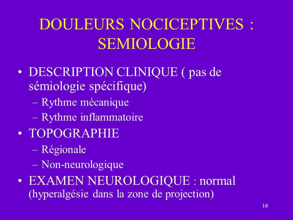 DOULEURS NOCICEPTIVES : SEMIOLOGIE