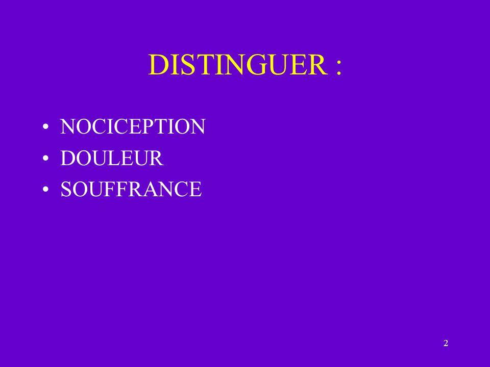 DISTINGUER : NOCICEPTION DOULEUR SOUFFRANCE
