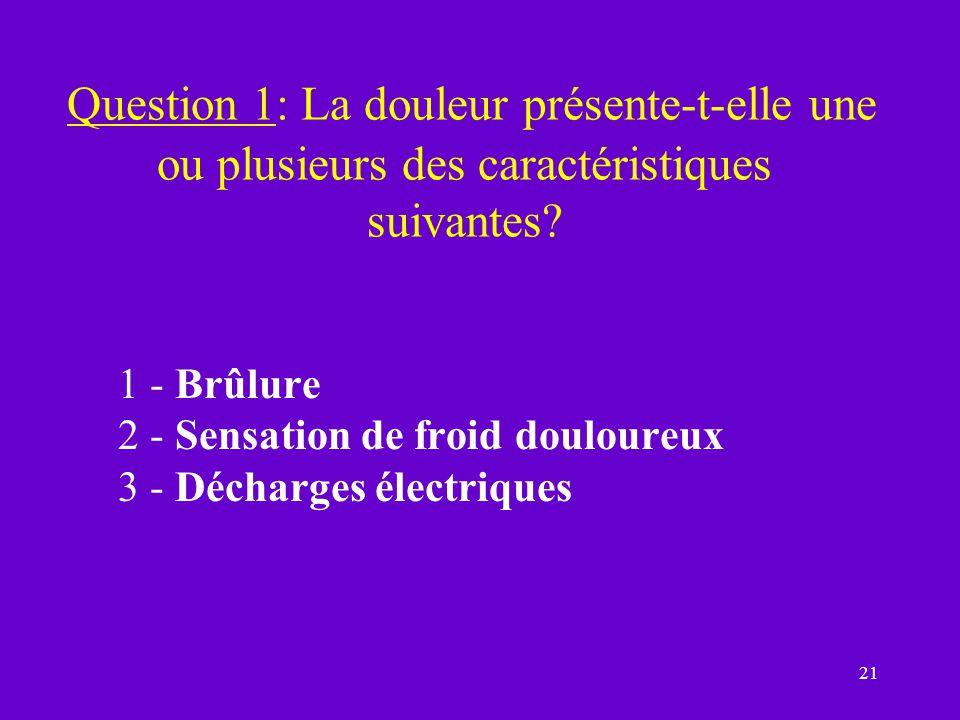 Question 1: La douleur présente-t-elle une ou plusieurs des caractéristiques suivantes