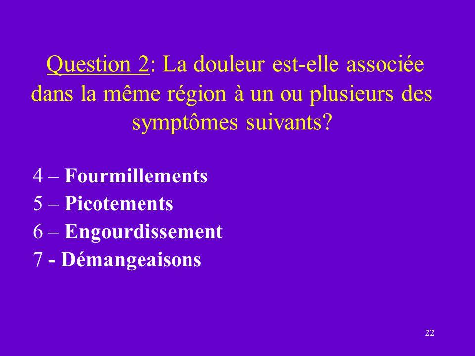 Question 2: La douleur est-elle associée dans la même région à un ou plusieurs des symptômes suivants