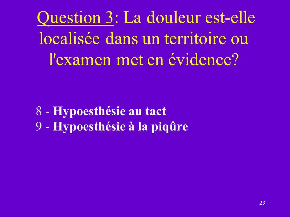 Question 3: La douleur est-elle localisée dans un territoire ou l examen met en évidence