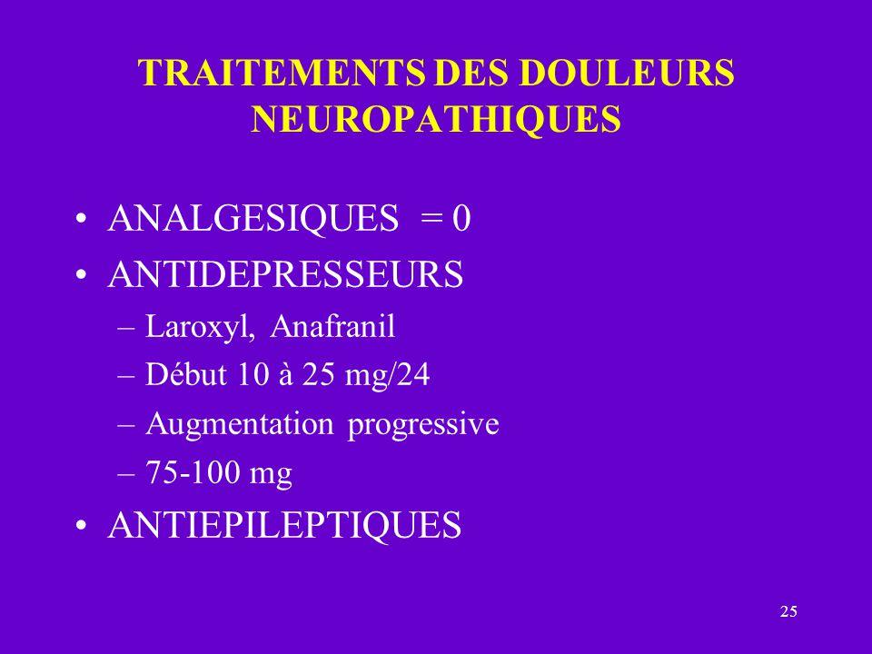 TRAITEMENTS DES DOULEURS NEUROPATHIQUES