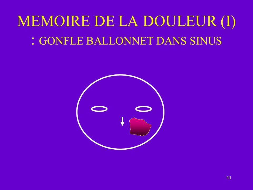 MEMOIRE DE LA DOULEUR (I) : GONFLE BALLONNET DANS SINUS