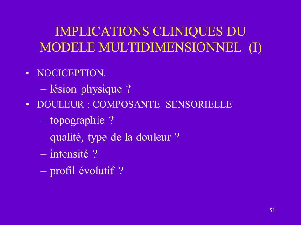 IMPLICATIONS CLINIQUES DU MODELE MULTIDIMENSIONNEL (I)