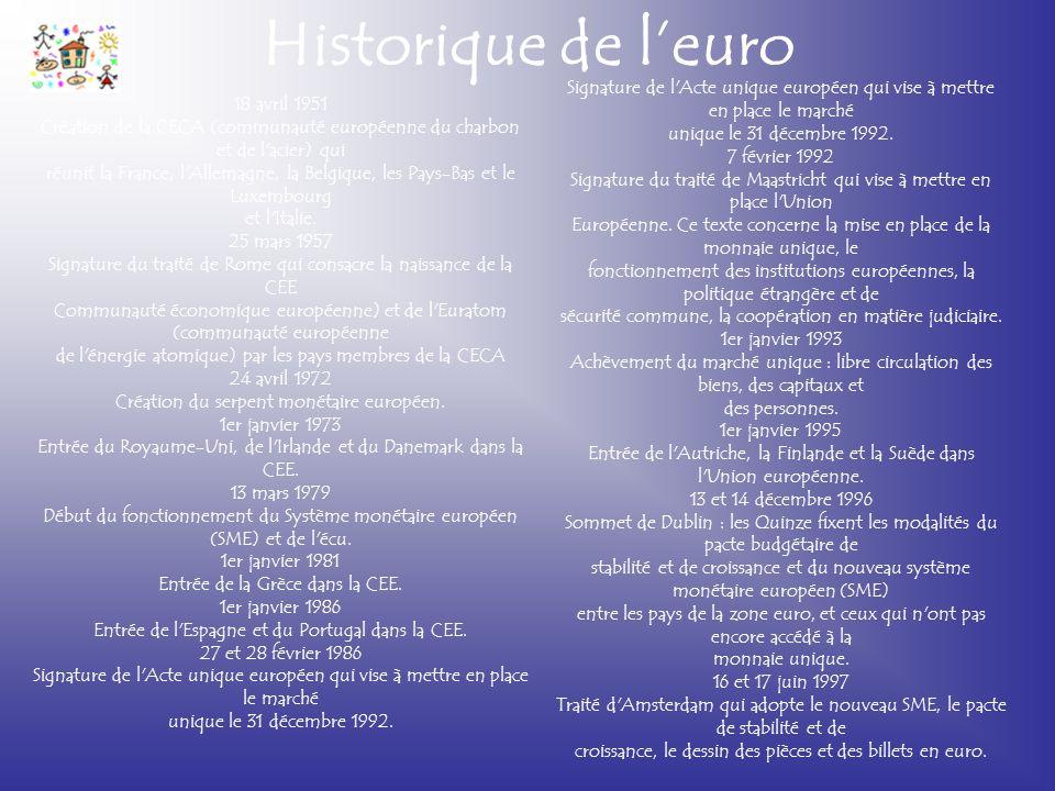 Historique de l'euro Signature de l Acte unique européen qui vise à mettre en place le marché. unique le 31 décembre 1992.